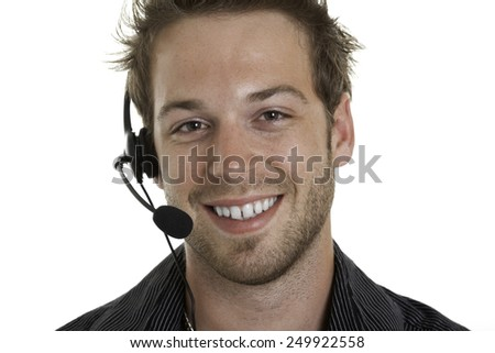 A business receptionist men of 30 years old - stock photo