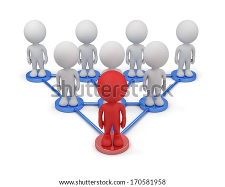 A business team with the leader. 3d image. White background. - stock photo