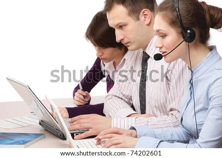 A business team working
