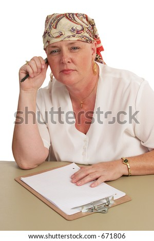 A business woman returning to work after chemotherapy. - stock photo