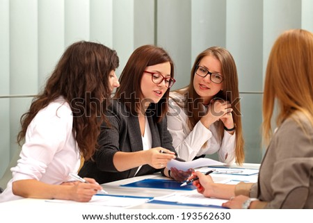 A business woman speaking on a meeting - stock photo