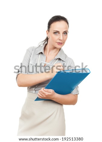 A business woman with a blue folder and a pencil