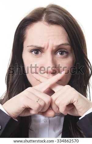 A business woman with a sign of x in front of her mouth for confidentiality