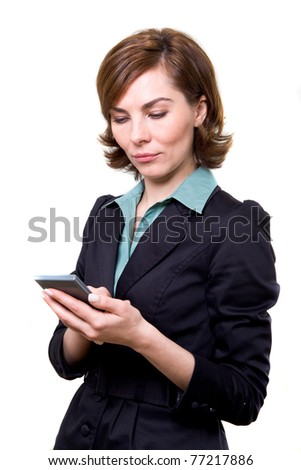 A business woman with calculator