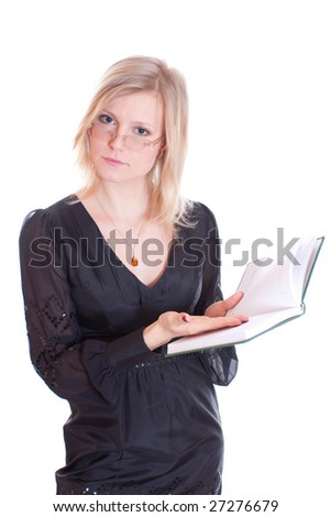 a business woman with organizer isolated