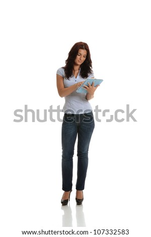 A business woman working with a tablet.