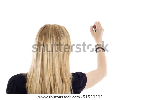 A business woman writing something isolated on white background.