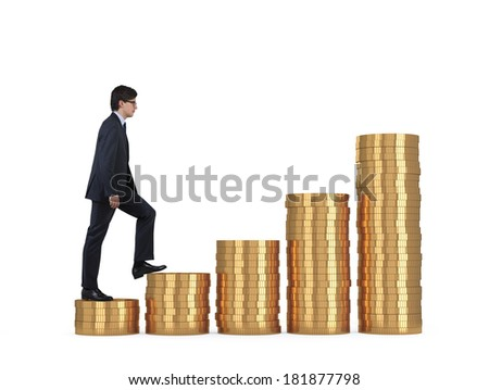 A businessman going up, golden stair.