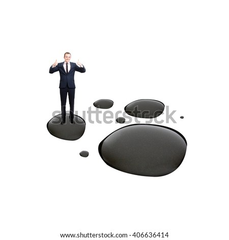 A businessman happy with oil prices - stock photo