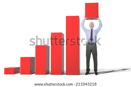 A businessman helping with growth by holding up the end of a bar chart