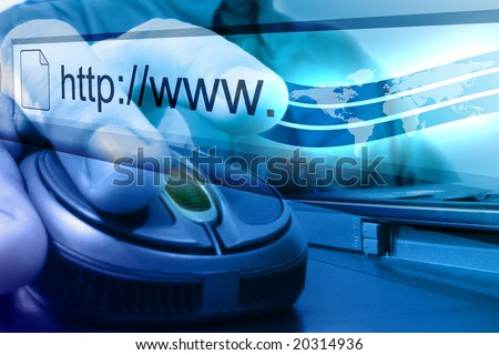 A businessman is about to push on a mouse button to search on the internet. The background is blue and a map of the earth is coming out of his fingertip. - stock photo