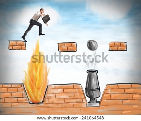A businessman jumps to overcome difficult obstacles - stock photo