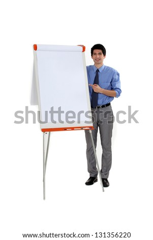 A businessman making a presentation.