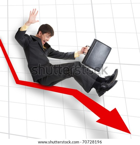 A businessman moving down on an arrow - stock photo