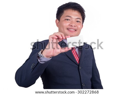 A businessman offering business card,Business man handing a blank business card isolated