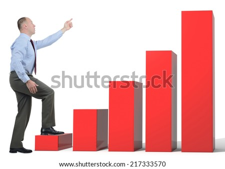 A businessman pointing to growth stepping on bar chart