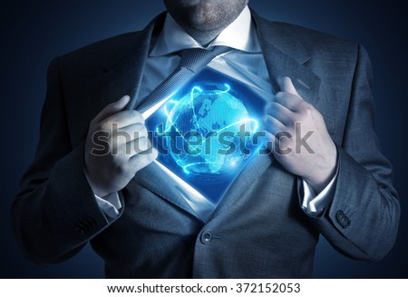 A businessman revealing a connected world.