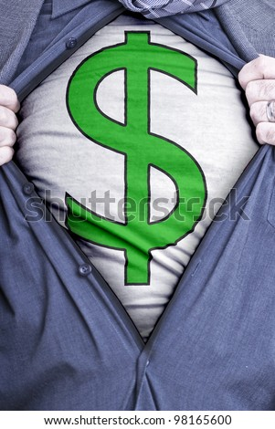 A businessman rips open his shirt and shows how perfect he is for your money needs by showing off a dollar symbol printed on a t-shirt - stock photo
