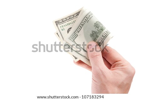 A businessman's hand with a one hundred dollars - stock photo