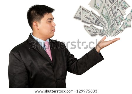 A businessman's hands holding money