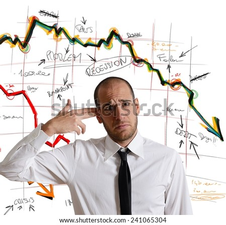 A businessman shoots himself for the crisis - stock photo