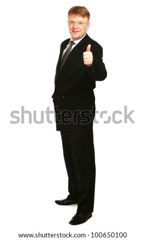 A businessman showing ok, isolated on white background - stock photo