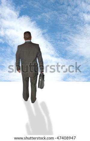 A businessman walking into the futuristic unknown sky, taking risk and looking for vision.