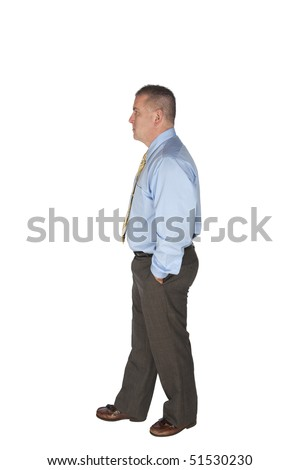A businessman walking isolated on white for designers to use in their work.