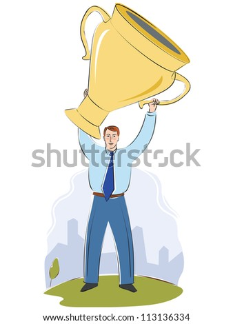 A businessman with a large trophy - stock photo