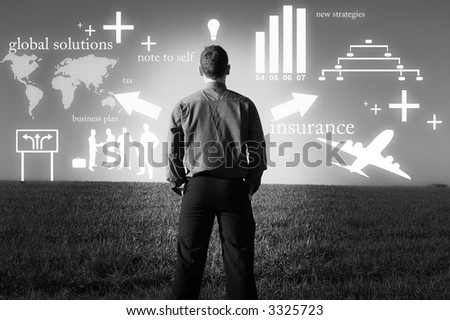 A businessman with lots of things on his mind. - stock photo