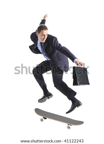 A businessman with skateboard jumping isolated on a white background