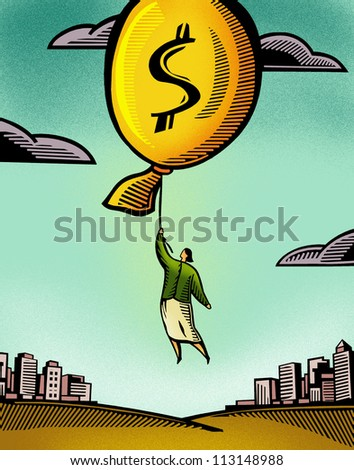 A businesswoman floating by a balloon with a dollar sign - stock photo