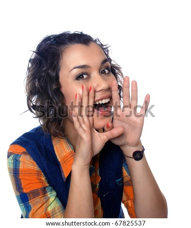 A businesswoman in a suit gestures with her hands and - stock photo