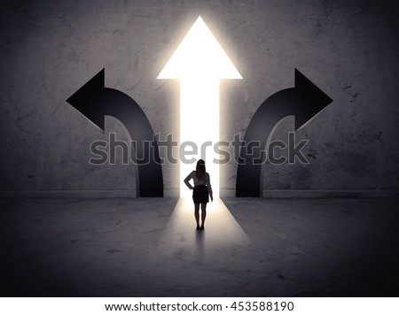 A businesswoman in doubt, having to choose between three different choices indicated by arrows pointing in opposite direction concept - stock photo