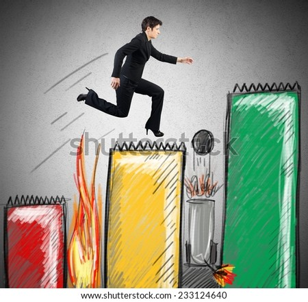 A businesswoman runs above statistics avoiding obstacles - stock photo