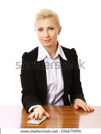 A businesswoman sitting on the desk and giving money, isolated on white background