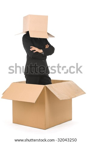 A businesswoman stand inside a box with her head is covered with smaller box. Smiling face can be drawn on the box