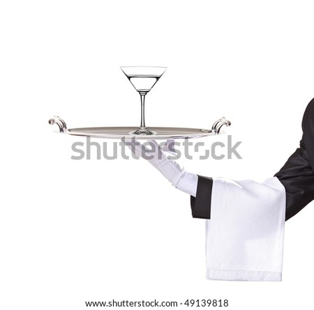A butler holding a tray with cocktail on it isolated on white