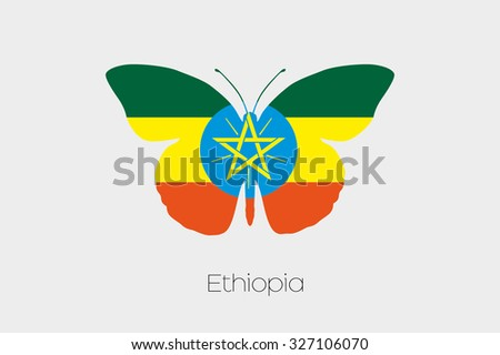 A Butterfly with the flag of Ethiopia - stock photo