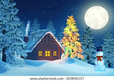 A cabin in a moonlit snowy Christmas landscape at night. The trees are covered in snow and one of the trees is lit by colourful Christmas lights. A snowman is standing by the cabin.