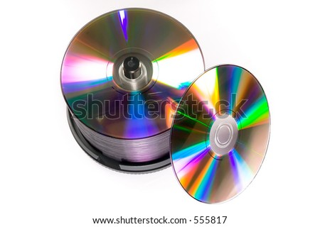 A cake box/spindle of DVD-R discs, isolated against a white background.