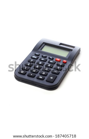 A calculator on a white background.  - stock photo