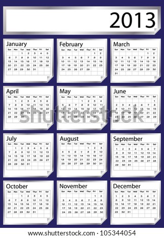 A 2013 calendar created with silver stickers. Space for text or Company name. Also available in  vector format - stock photo