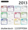 A 2013 calendar showing birthstones for each month. Also available in vector format. - stock vector