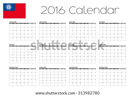 A 2016 Calendar with the Flag of Myanmar