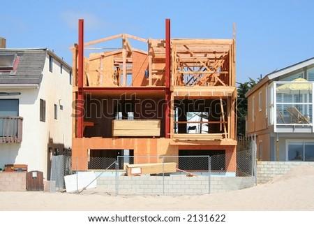 A California beach home under construction. - stock photo