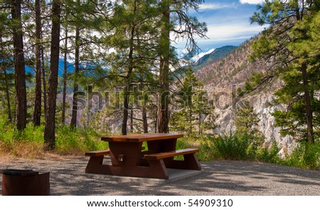 A campground site with gorgeous view at Thompson river canyon, Canada. - stock photo