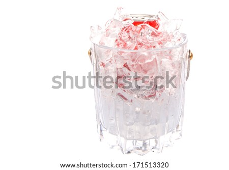 A can of cola drinks in an ice bucket - stock photo