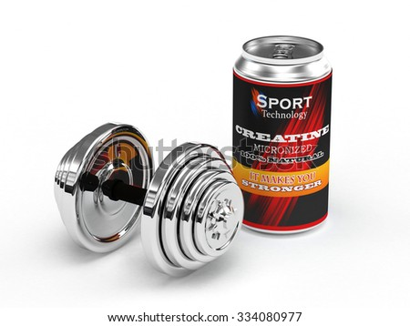 A can of Creatine micronized for body building Isolate on white background