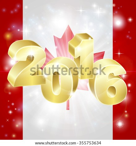 A Canadian flag with 2016 coming out of it with fireworks. Concept for New Year or anything exciting happening in Canada in the year 2016. - stock photo